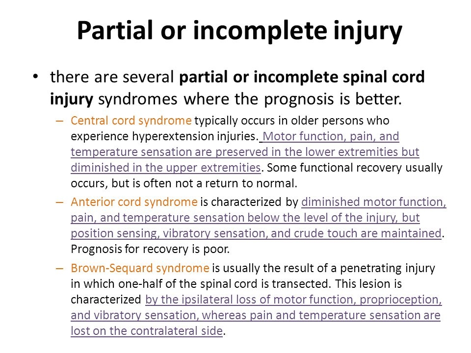 Partial or incomplete injury