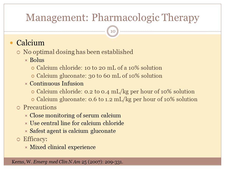 calcium channel blocker overdose guidelines