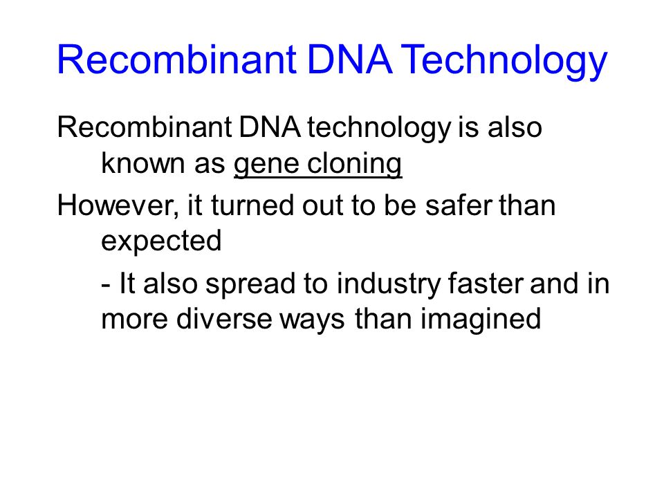 Recombinant Dna Technology Ppt Download