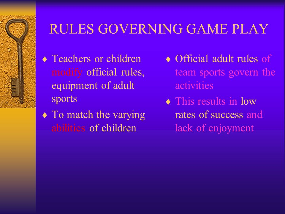 RULES GOVERNING GAME PLAY