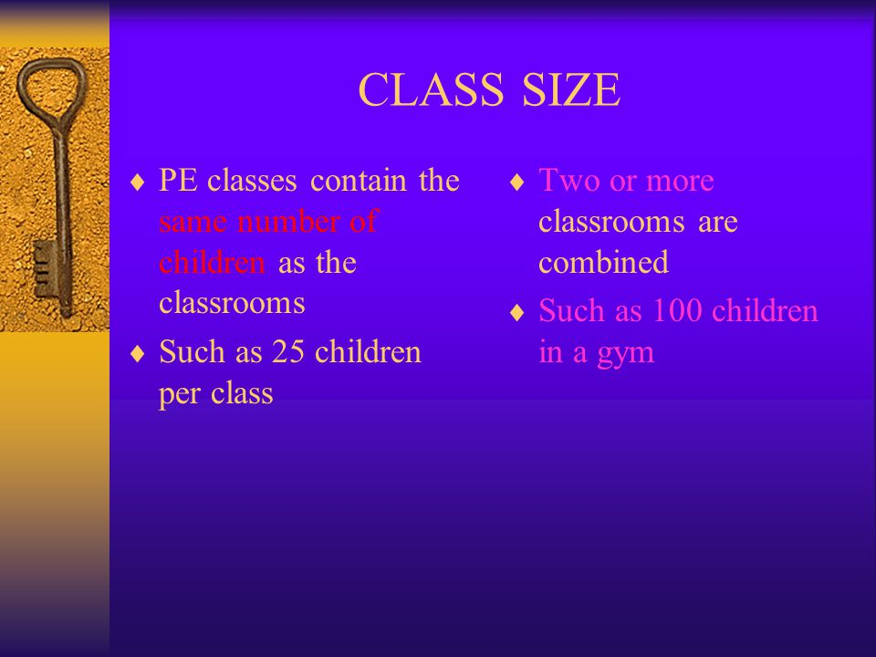 CLASS SIZE PE classes contain the same number of children as the classrooms. Such as 25 children per class.