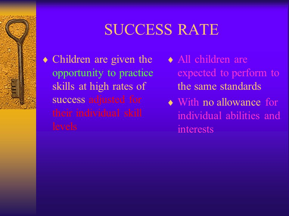 SUCCESS RATE Children are given the opportunity to practice skills at high rates of success adjusted for their individual skill levels.
