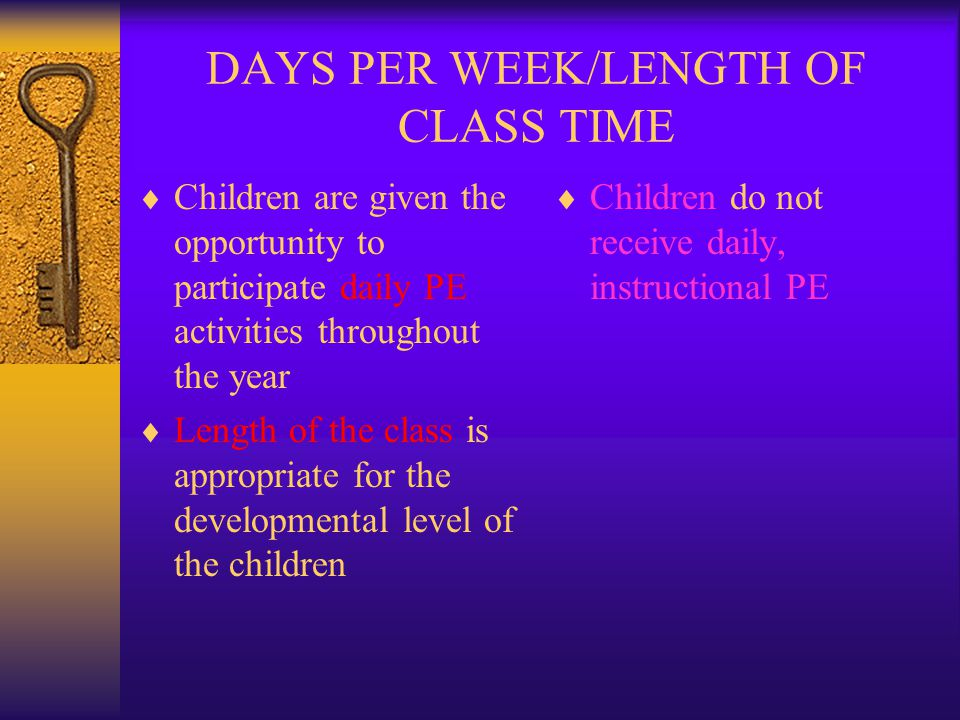 DAYS PER WEEK/LENGTH OF CLASS TIME