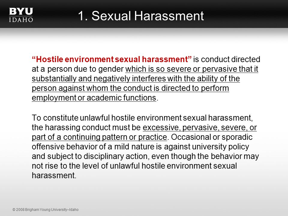 University sexual harassment training video