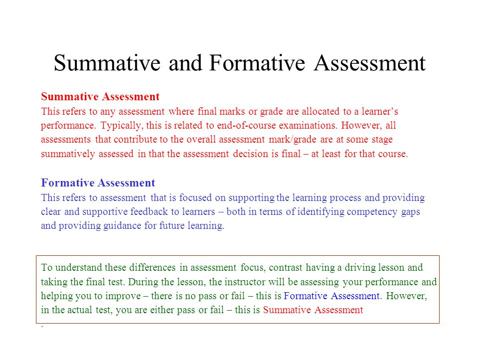 essays on formative assessment What is the difference between formative and summative assessment formative assessment the goal of formative assessment is to monitor student learning to provide.