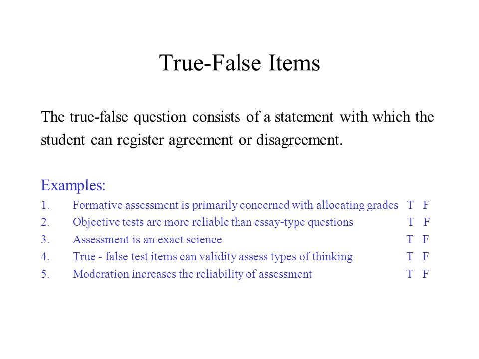 importance of essay type test items Of each type of test item, test your knowledge of these two item types by answering the following essay items are generally easier and less time consuming to construct than are most objective test the importance of being able to communicate through writing constant use of essay tests may.