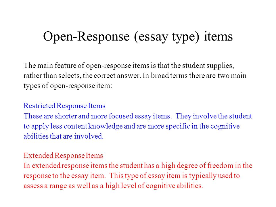Examples of Restricted-Response Performance Tasks