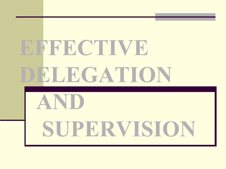 EFFECTIVE DELEGATION AND SUPERVISION