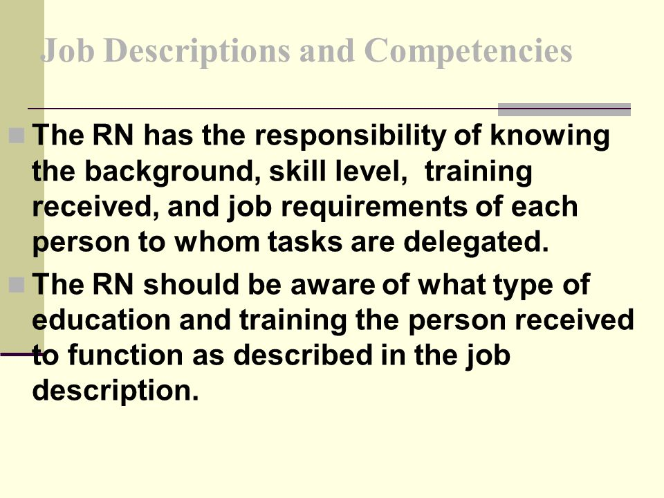 Job Descriptions and Competencies