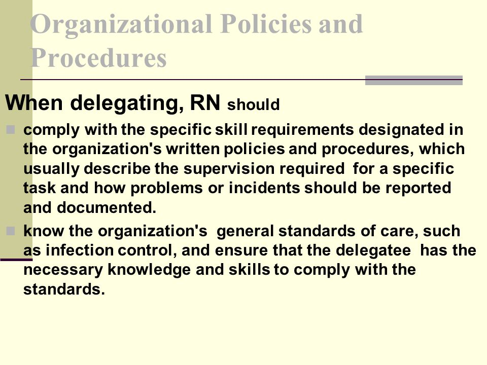 Organizational Policies and Procedures