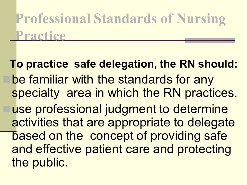 Professional Standards of Nursing Practice