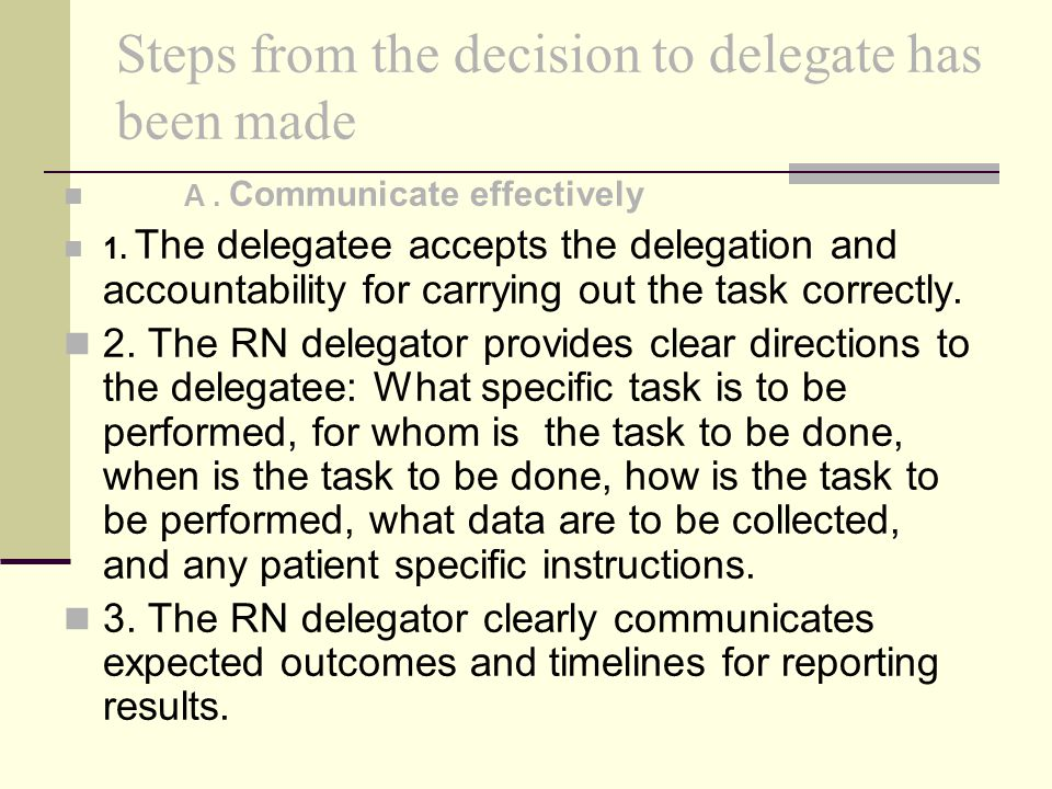 Steps from the decision to delegate has been made