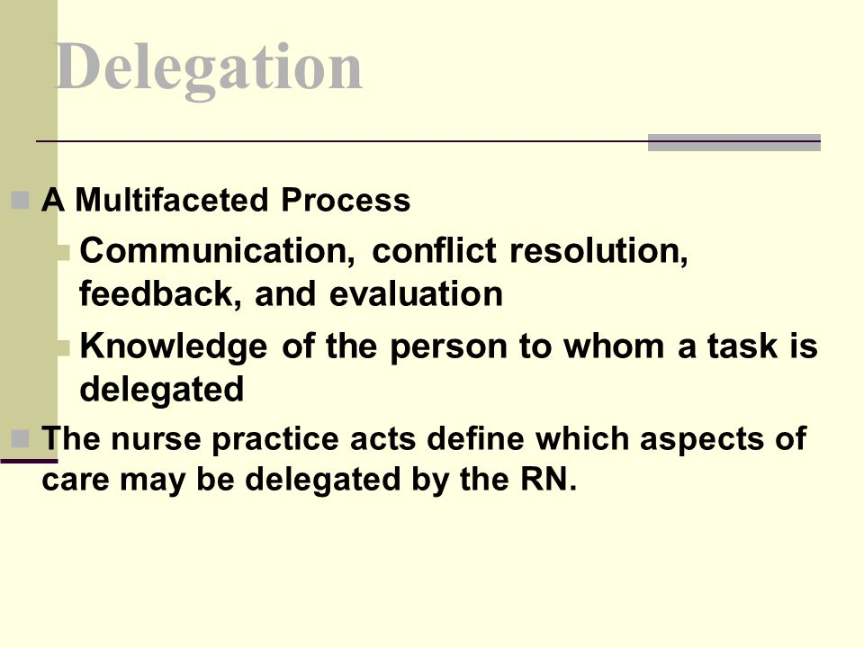 Delegation A Multifaceted Process. Communication, conflict resolution, feedback, and evaluation.