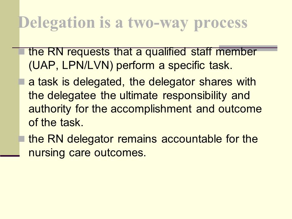 Delegation is a two-way process