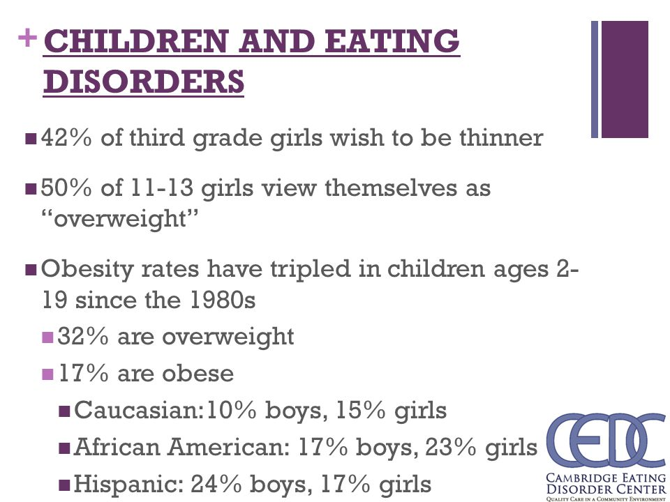 eating disorders in children Purpose of review recent research on the multimodal treatment of eating  disorders in child and adolescent psychiatry has yielded a significant increase in .