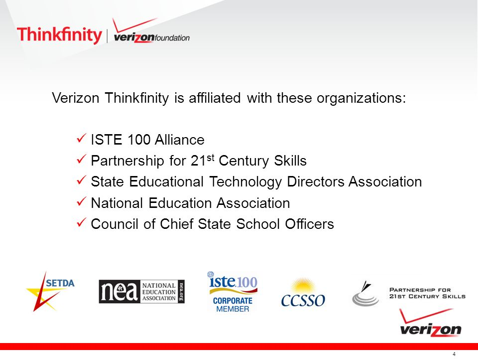 Verizon Thinkfinity is affiliated with these organizations:
