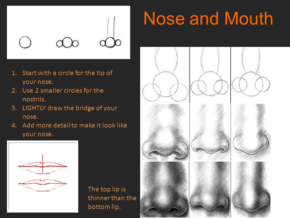 Nose and Mouth Start with a circle for the tip of your nose.