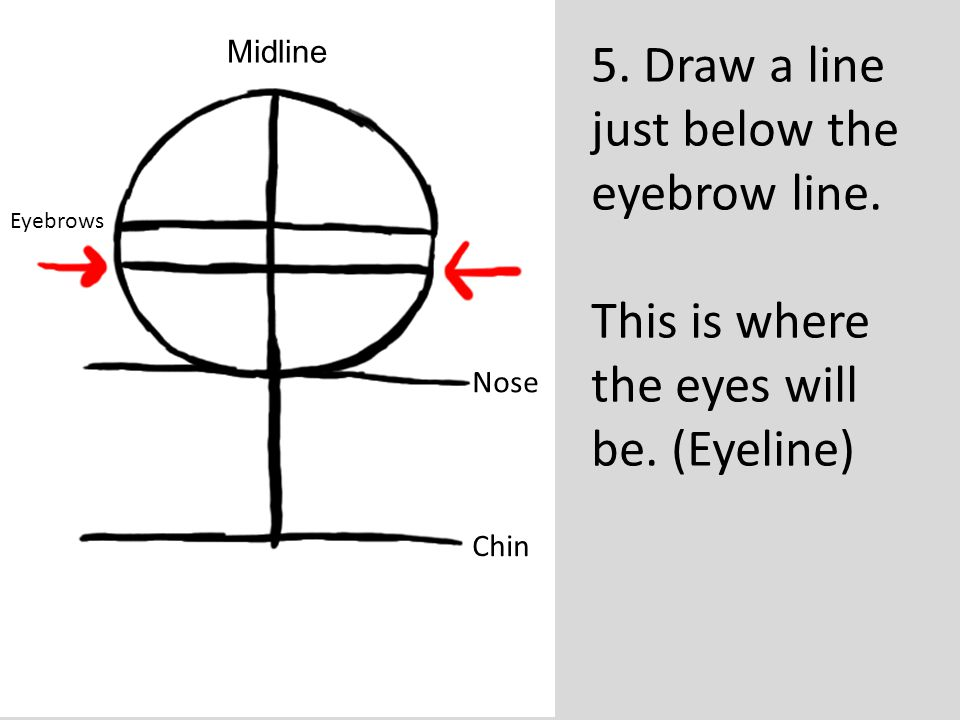 5. Draw a line just below the eyebrow line.