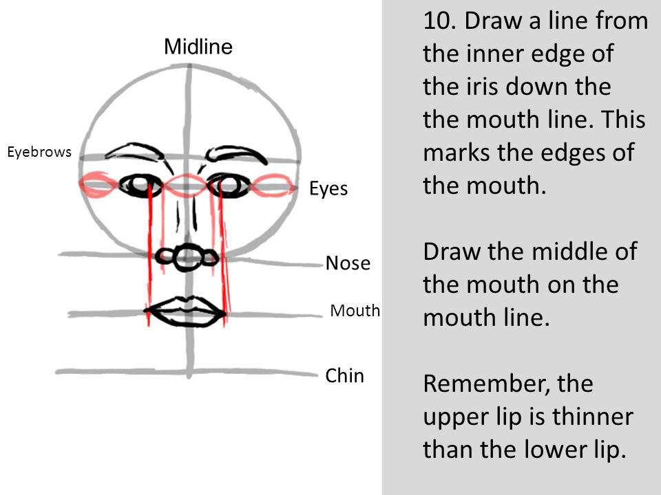 Draw the middle of the mouth on the mouth line.