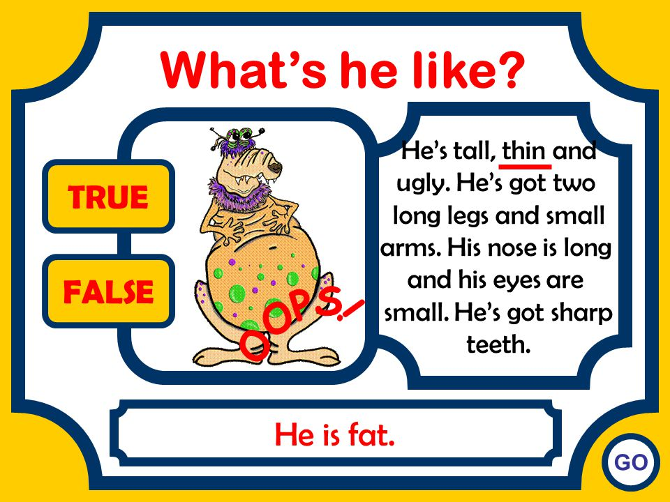 What's he like TRUE FALSE OOPS! He is fat. He's tall, thin and