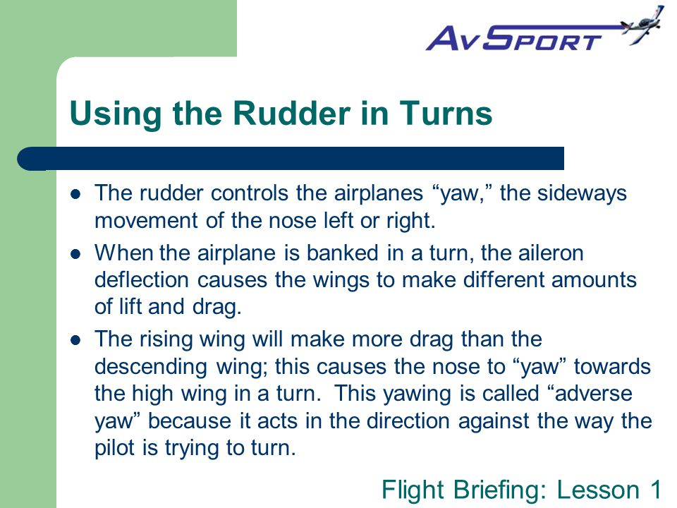 Using the Rudder in Turns