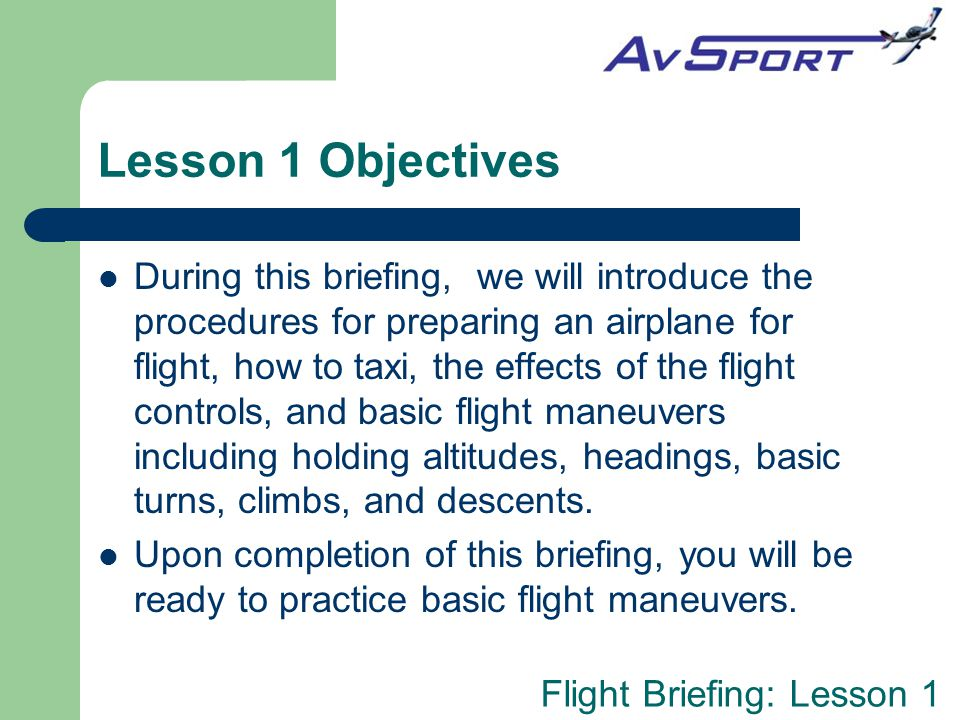 Lesson 1 Objectives