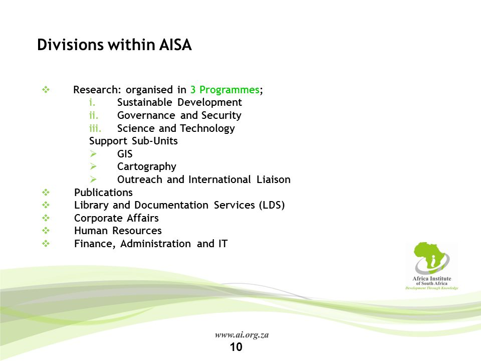 Divisions within AISA 10 Research: organised in 3 Programmes;