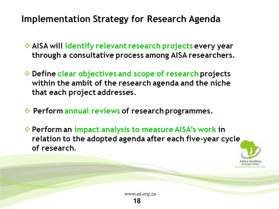 Implementation Strategy for Research Agenda