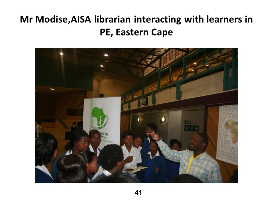 Mr Modise,AISA librarian interacting with learners in PE, Eastern Cape