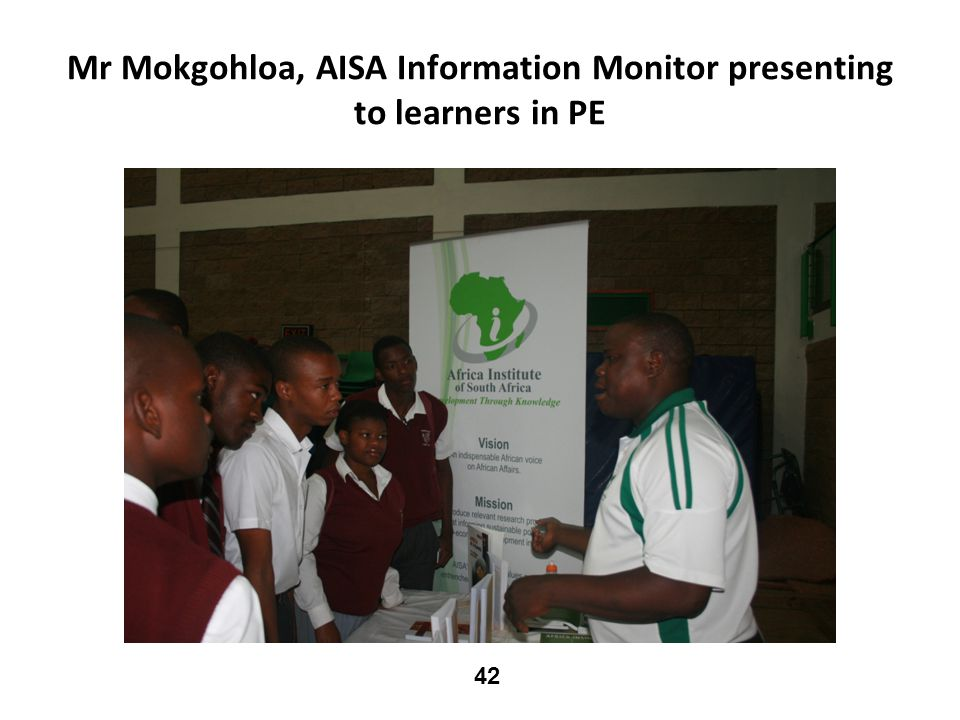 Mr Mokgohloa, AISA Information Monitor presenting to learners in PE