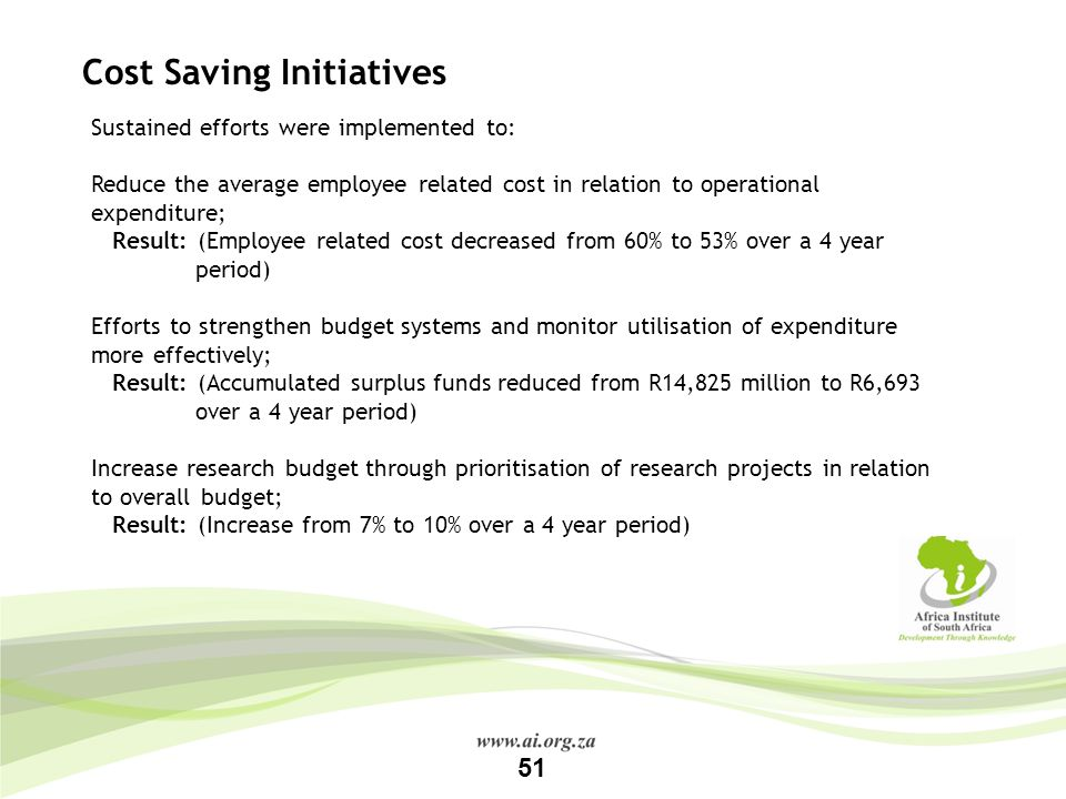 Cost Saving Initiatives