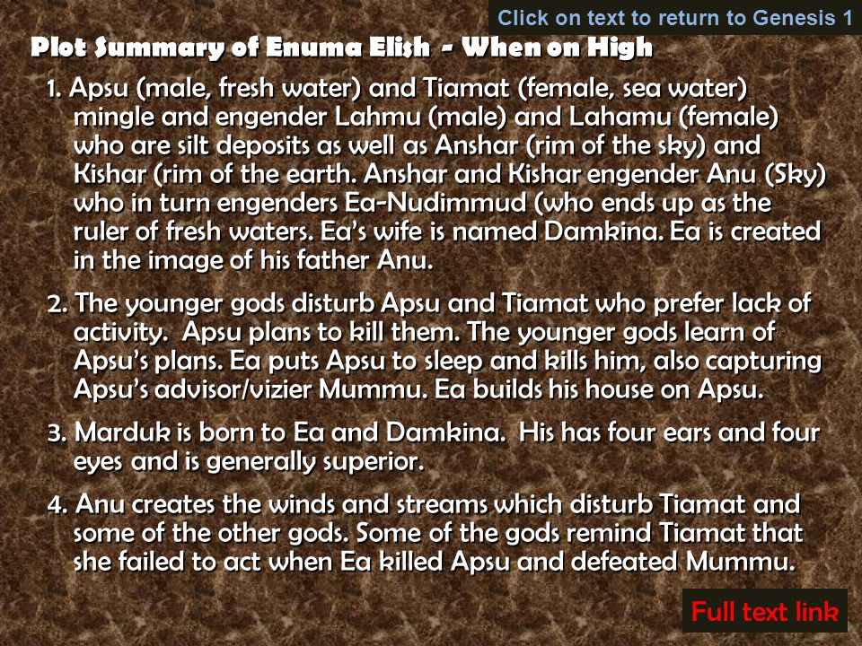 enuma elish summary A summary of the epic enuma elish a summary of the epic enuma elish skip navigation sign in search loading close [enuma elish] - the lost book of enki - the beginning - duration: 18:59 mikemars261 29,185 views 18:59.