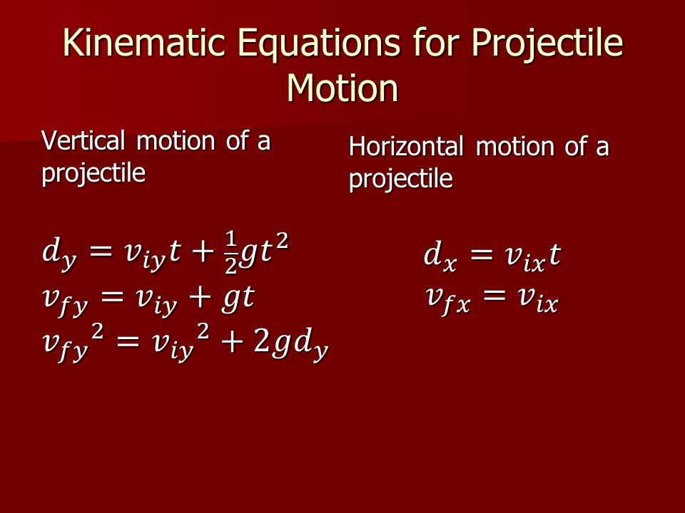 Kinematic Equations for Projectile Motion