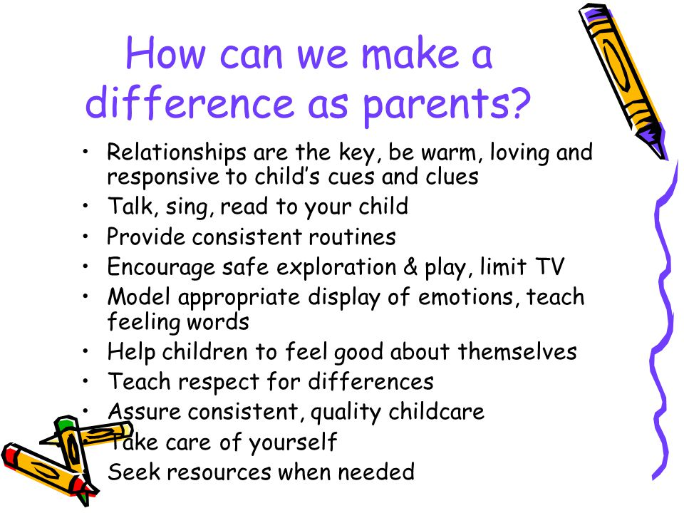 How can we make a difference as parents