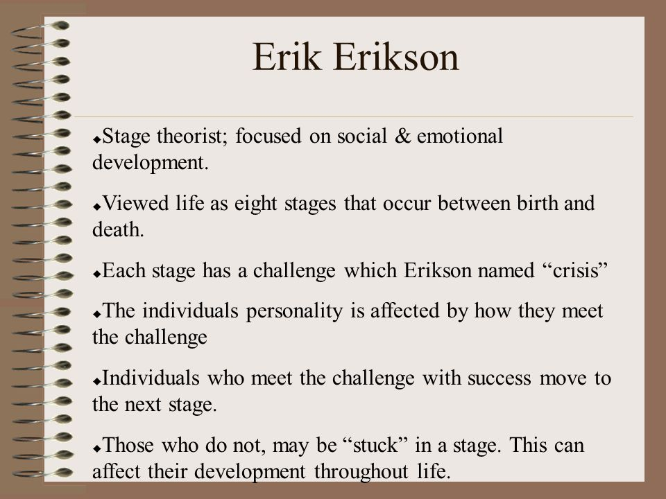 erik erikson and the socialization of individuals Dr erik erickson's 8 stages of human development note the this article summarizes psychologist erik erikson's widely accepted premise that human growth.