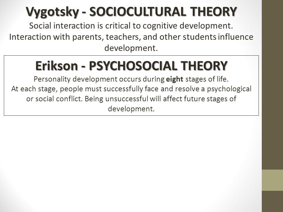 comparison between vygotsky and erikson A comparative analysis of three developmental theories by erik erikson and lawrence kohlberg example of 'building another' is vygotsky's socio-cultural.