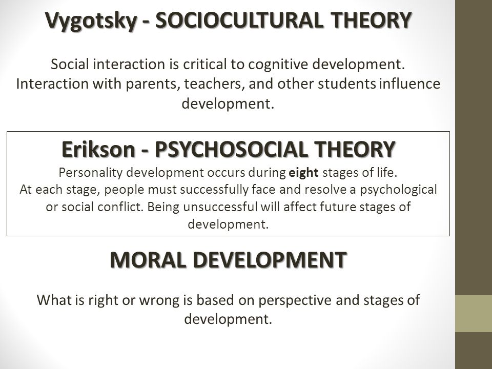 cognitive and sociocultural theories contrasts Sociocultural theories of development cognitive development occurs in social interaction sociocultural research area 1:.