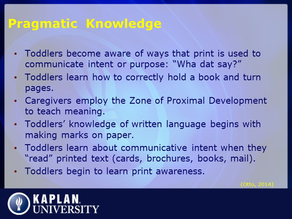 Pragmatic Knowledge Toddlers become aware of ways that print is used to communicate intent or purpose: Wha dat say