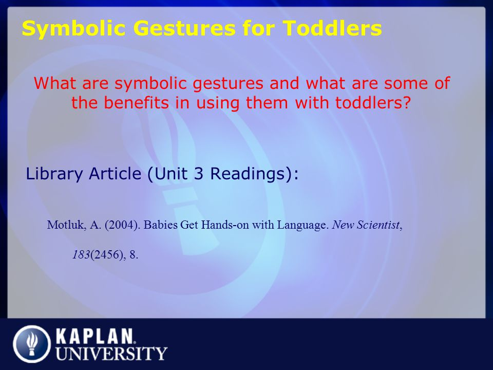 Symbolic Gestures for Toddlers