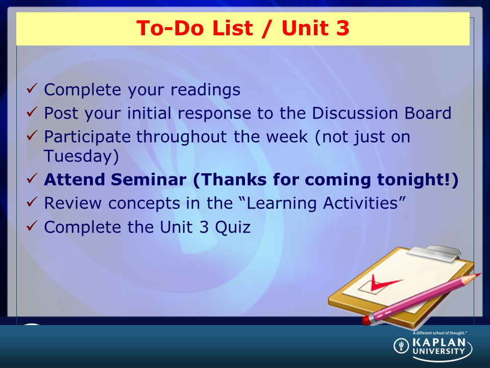 To-Do List / Unit 3 Complete your readings