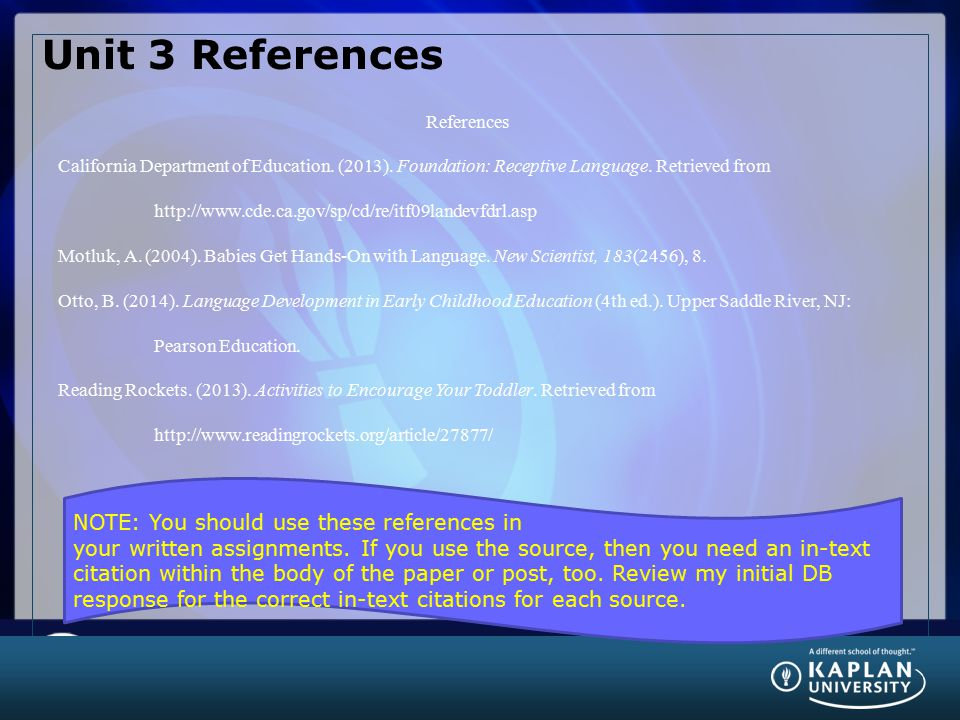 Unit 3 References References.
