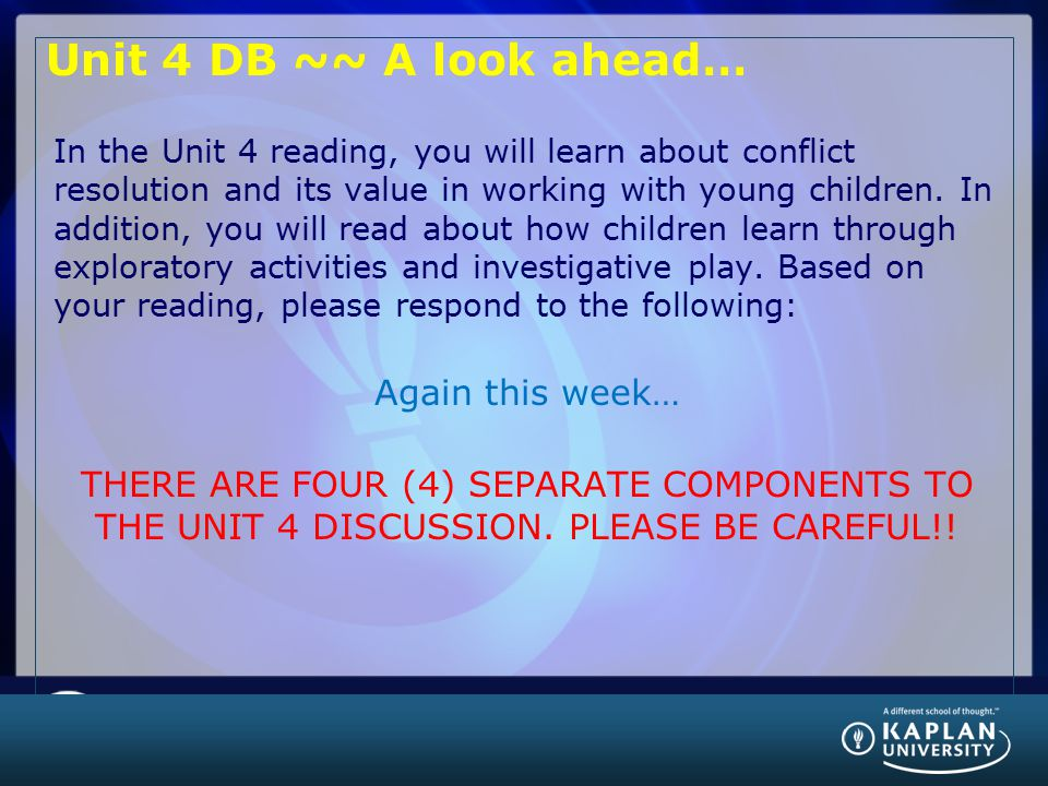 Unit 4 DB ~~ A look ahead… Again this week…