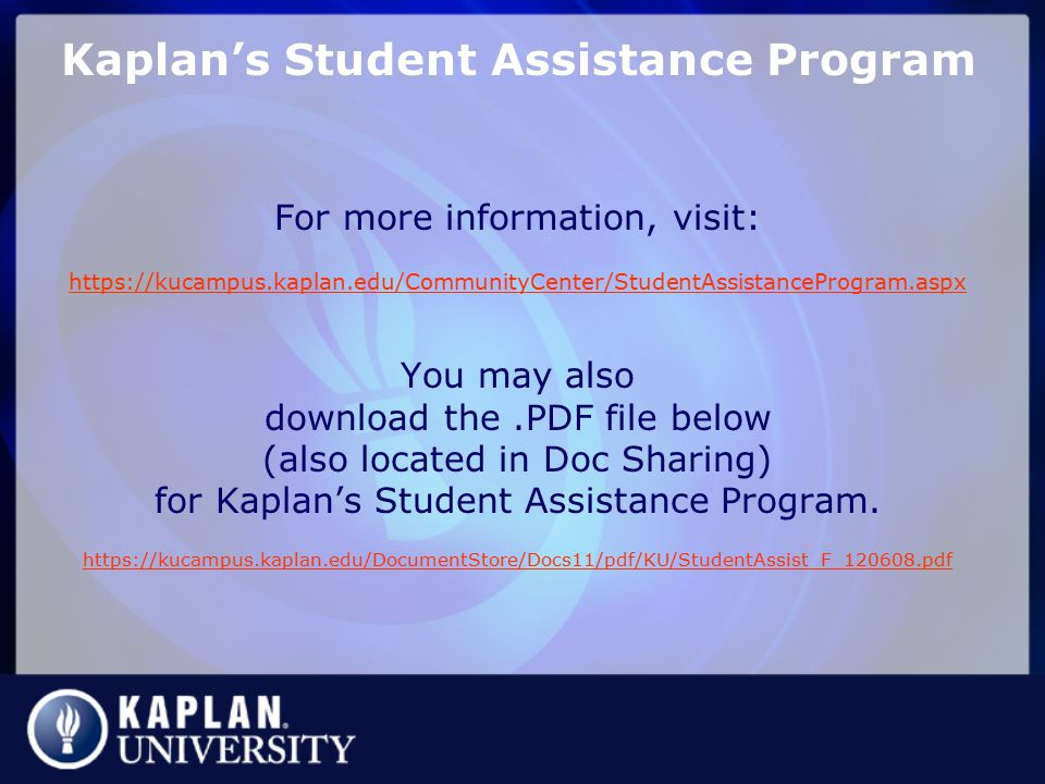 Kaplan's Student Assistance Program
