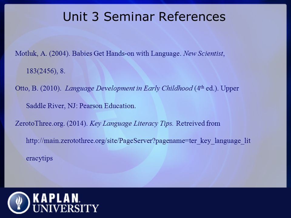 Unit 3 Seminar References