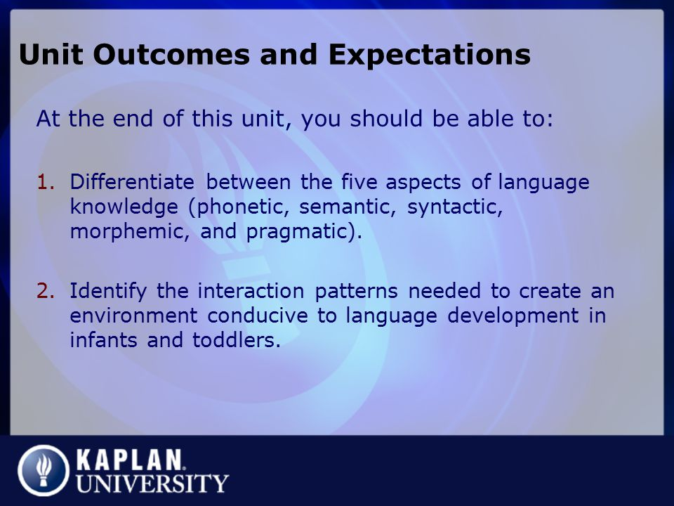 Unit Outcomes and Expectations