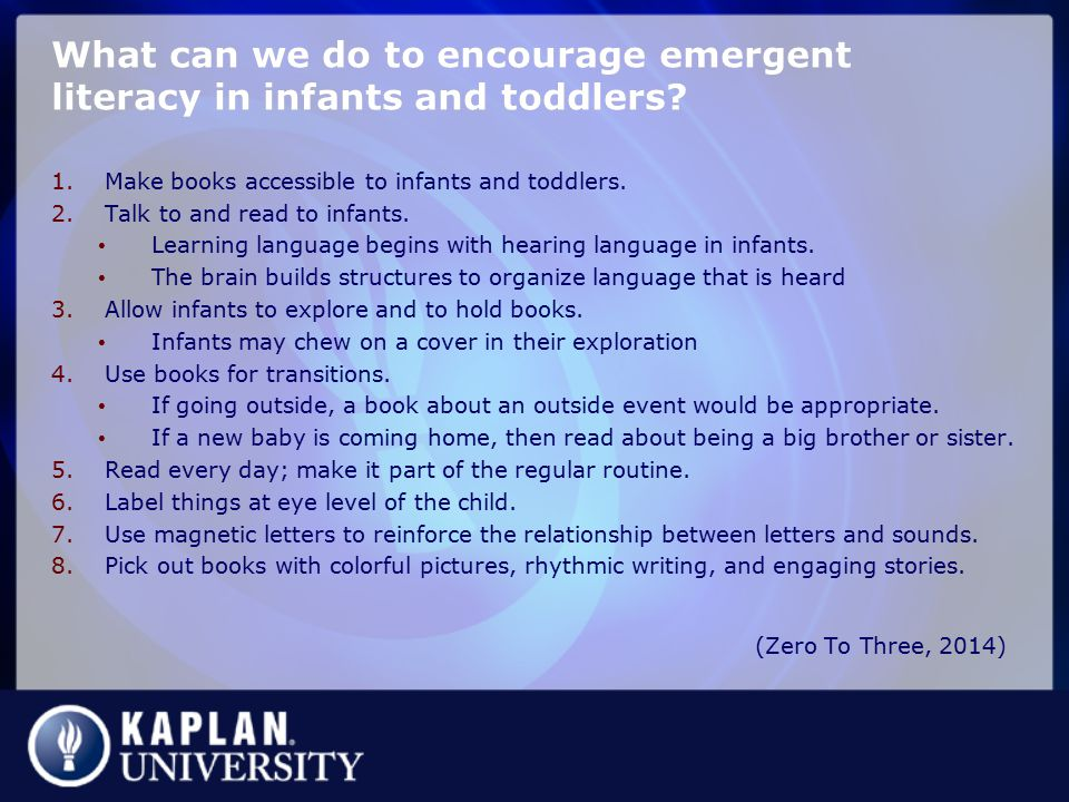What can we do to encourage emergent literacy in infants and toddlers