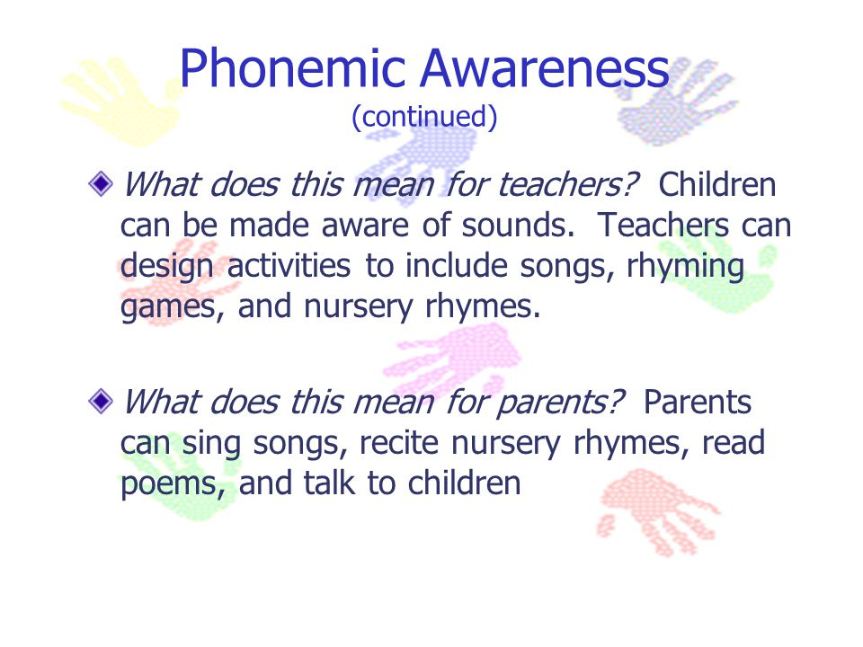 Phonemic Awareness (continued)