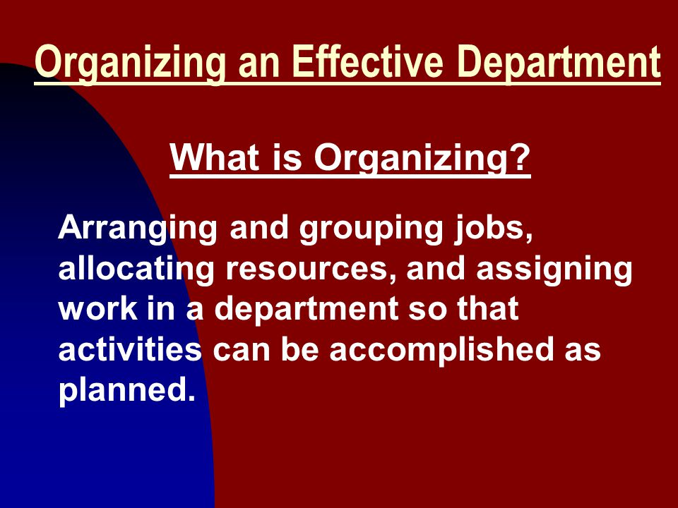 Organizing an Effective Department