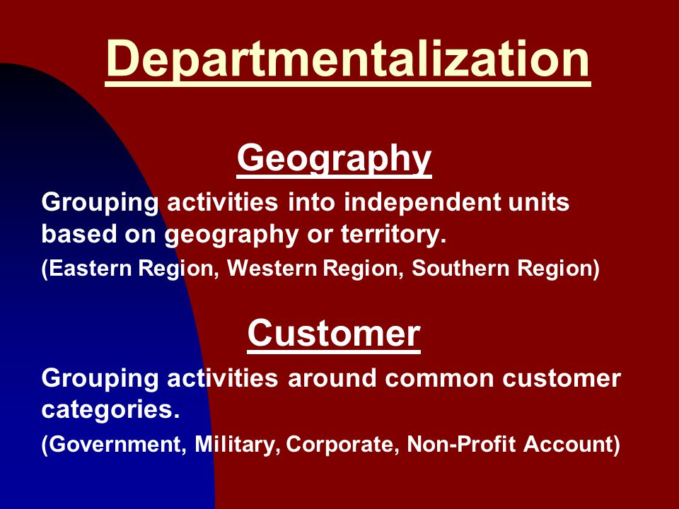 Departmentalization Geography Customer