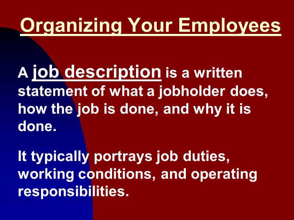 Organizing Your Employees